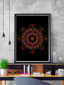 Sacred View Mandala Print in a frame on a shelf