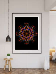 Sacred View Mandala Print in a frame on a wall