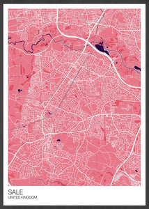 Sale Trafford Map Print Pink Variant