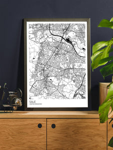 Sale Trafford Map Print in a trendy room