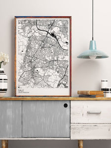 Sale Trafford Map Print in a kitchen