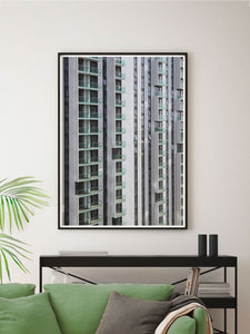 Lightbox City Building Print in a Modern Room Interior