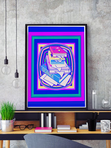 Science Stack Purple Abstract Art Print in a frame on a shelf