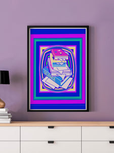 Science Stack Purple Abstract Art Print in a frame on a wall