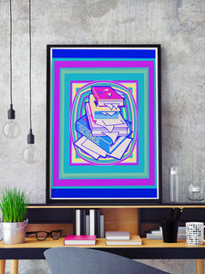 Science Stack Teal Abstract Art Print in a frame on a shelf