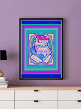 Load image into Gallery viewer, Science Stack Teal Abstract Art Print in a frame on a wall