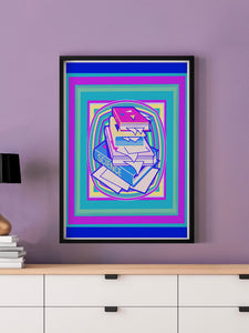 Science Stack Teal Abstract Art Print in a frame on a wall