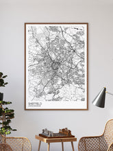 Load image into Gallery viewer, Sheffield City Art Design Print in a frame on a wall