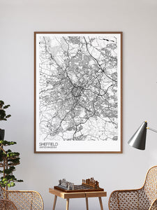 Sheffield City Art Design Print in a frame on a wall
