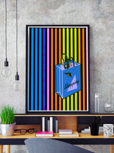 Load image into Gallery viewer, Shopping Streak Retro Art Print in a frame on a shelf