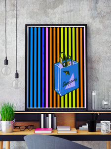 Shopping Streak Retro Art Print in a frame on a shelf