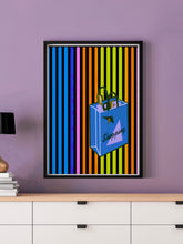 Load image into Gallery viewer, Shopping Streak Retro Art Print in a frame on a wall
