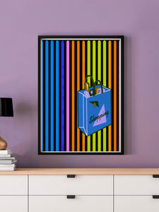 Shopping Streak Retro Art Print in a frame on a wall