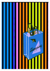 Shopping Streak Retro Art Print not in a frame