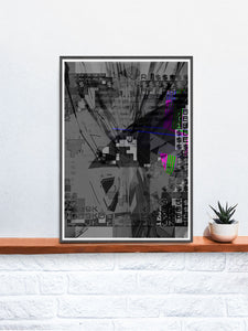 Shut Down Digital Abstract Art Print in a frame on a shelf