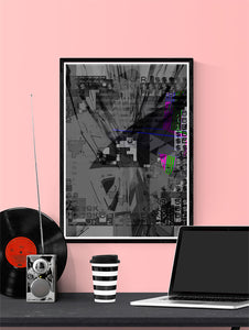 Shut Down Digital Abstract Art Print in a frame on a wall