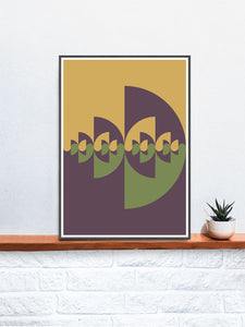 Sigil Earth Natural Abstract Print in a frame on a shelf