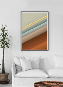 Slide Style Vintage Abstract Print in a traditional room