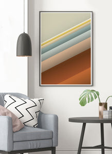 Slide Style Vintage Abstract Print in a modern room