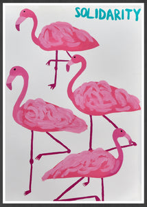 Solidarity Flamingo Wall Print in a frame