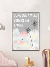 Load image into Gallery viewer, Weed and Wish Dandelion Botanical Print in a frame on a wall
