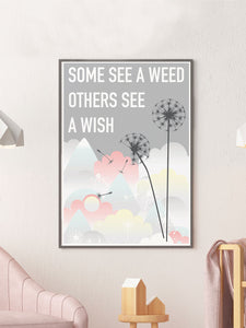 Weed and Wish Dandelion Botanical Print in a frame on a wall