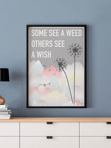 Weed and Wish Dandelion Botanical Print in a frame on a blue wall