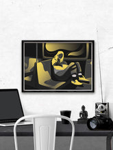 Load image into Gallery viewer, Soul Traveller Yellow Peaceful Artwork by Figen Demireva Installed Above A Desk
