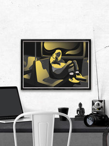 Soul Traveller Yellow Peaceful Artwork by Figen Demireva Installed Above A Desk
