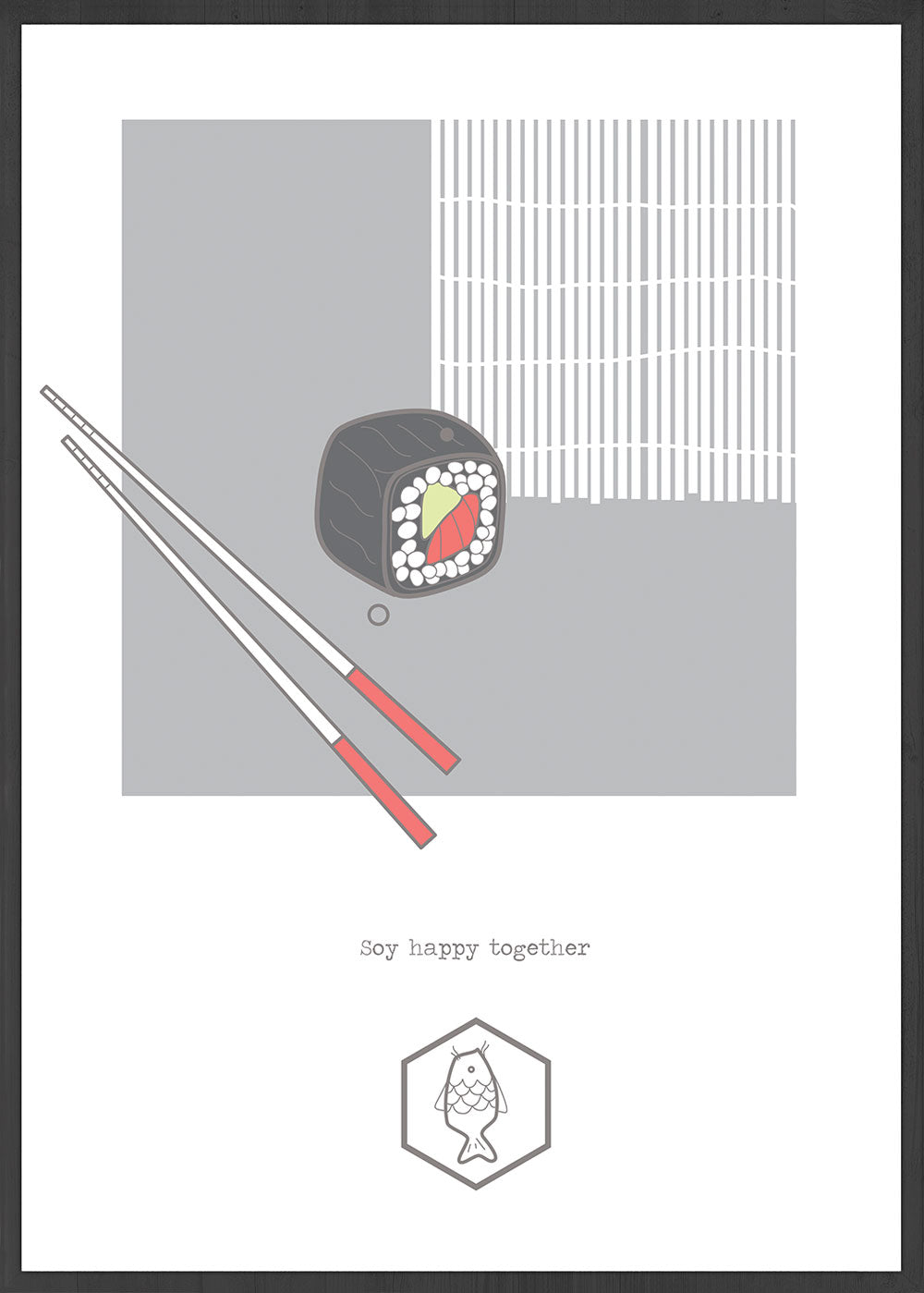 Soy Happy Together Sushi Wall Art in a frame