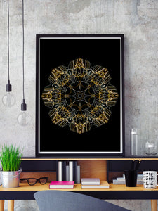 Space Odyssey Mandala Print in a frame on a shelf