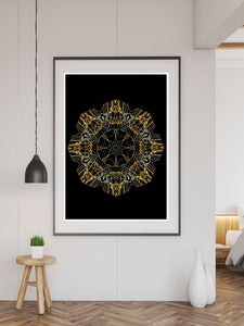 Space Odyssey Mandala Print in a frame on a wall