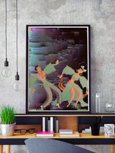 Load image into Gallery viewer, Space Rumba Retro Art Print in a frame on a shelf