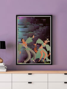 Space Rumba Retro Art Print in a frame on a wall