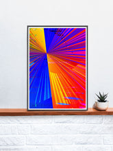 Load image into Gallery viewer, Spectre Colourful Abstract Art Print in a frame on a shelf