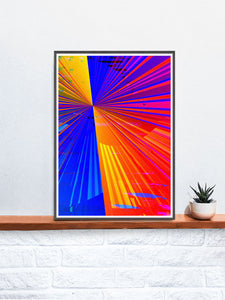 Spectre Colourful Abstract Art Print in a frame on a shelf