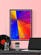 Load image into Gallery viewer, Spectre Colourful Abstract Art Print in a frame on a wall