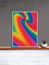 Load image into Gallery viewer, Spectrum Art Print Pattern in a frame on a shelf