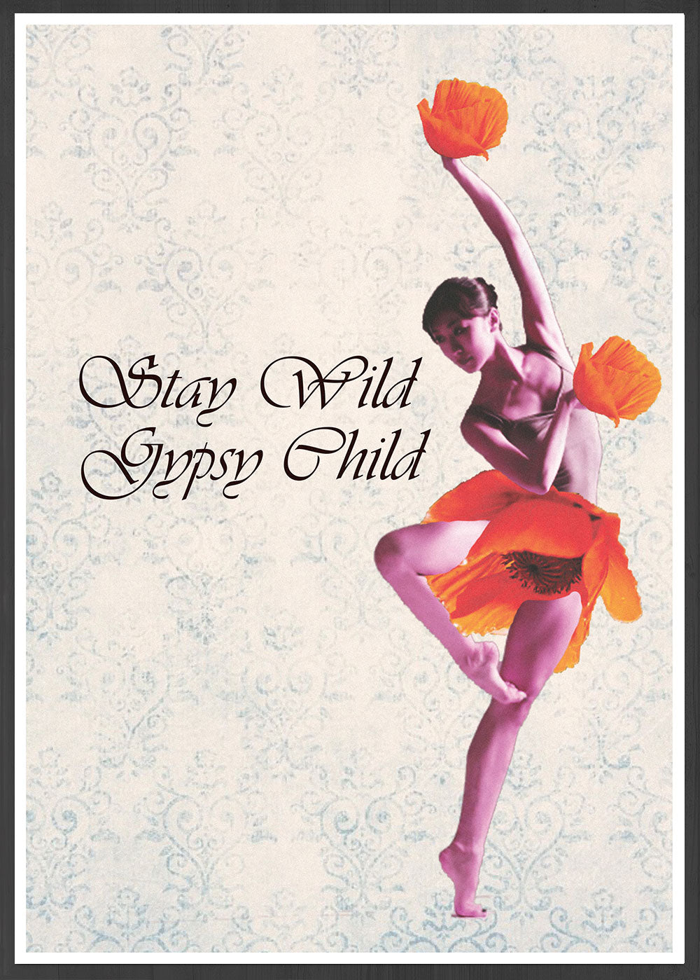 Stay Wild Gypsy Child Child Dancer Art Print in a frame