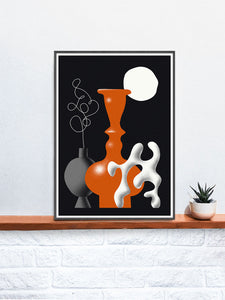Still Life Fine Art Vase Illustration Print in a frame on a shelf