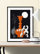 Load image into Gallery viewer, Still Life Fine Art Vase Illustration Print in a frame on a wall