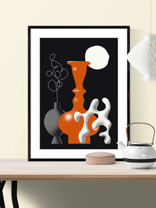 Still Life Fine Art Vase Illustration Print in a frame on a wall