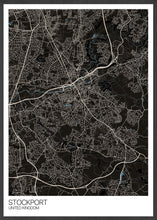 Load image into Gallery viewer, Stockport City Map Wall Art in black