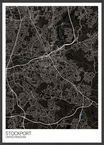 Stockport City Map Wall Art in black