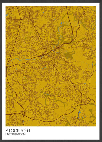Stockport City Map Wall Art in a frame