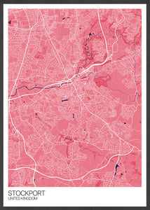 Stockport City Map Wall Art in Pink
