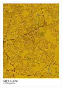 Stockport City Map Wall Art