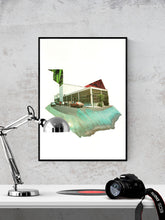 Load image into Gallery viewer, Streets Retro Collage Print in a frame on a wall