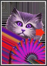 Load image into Gallery viewer, Fe-Line Stripey Cat Print in a frame
