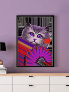 Fe-Line Stripey Cat Print in a frame on a wall